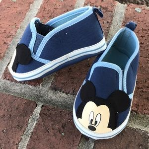 Disney Mickey Mouse Blue Slip On Baby Shoes 9-12M